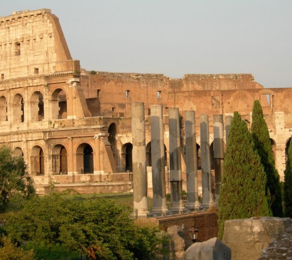 The Colosseum or Coliseum is an elliptical amphitheater in the centre of the city of Rome, Italy.  It is the largest amphitheater in the world. Construction began under the emperor Vespasian in 70 AD and was completed in 80 AD under his successor and heir Titus.